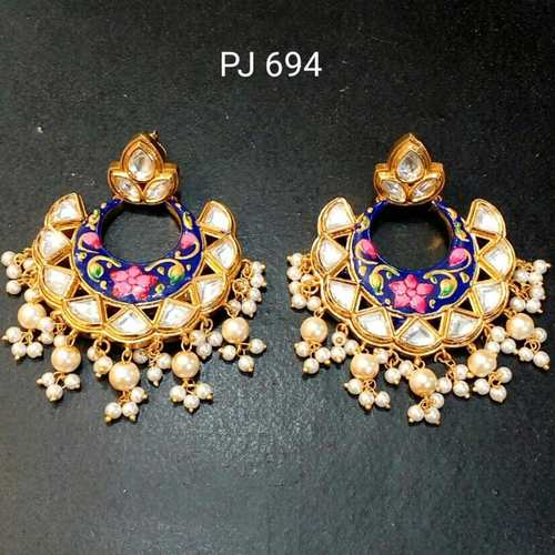 Kundan Meena Hand Painted Earrings