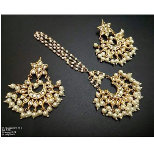 Kundan Meena Pearl Earrings with Tikka