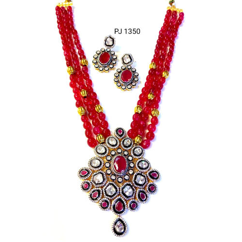 A.D Kundan Meena Pendant Set with Mala