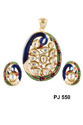 Kundan Meena Pendant Set Peacock