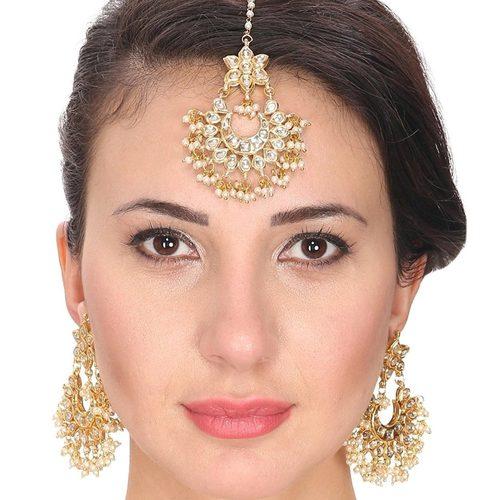 Kundan Meena Earrings with Tikka