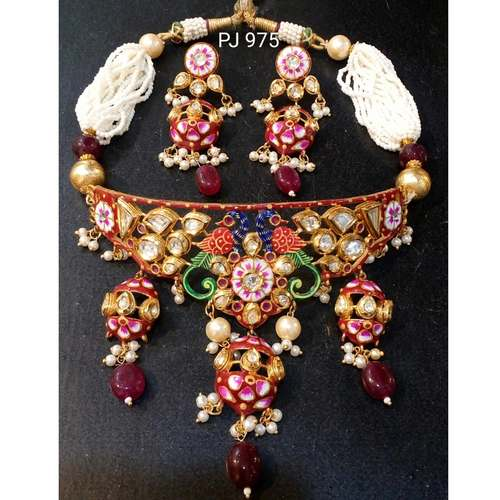 Kundan Meena Choker Necklace Set