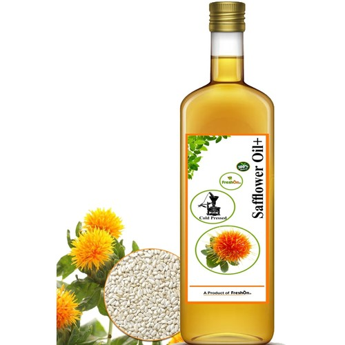 SAFFLOWER Oil+ Cold Pressed - ಸಯಾಫಲವರ ಎಣಣೆ - 750 ml Glass Bottle