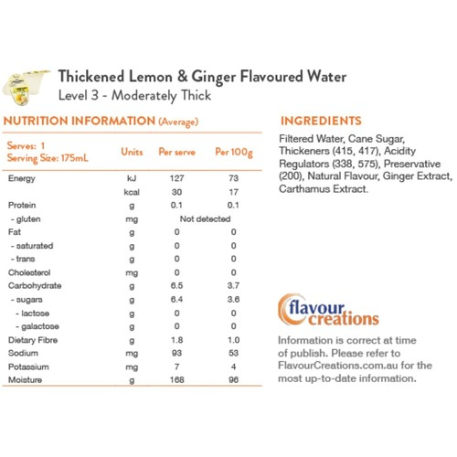 Lemon & Ginger Water Level 3 Moderately Thick 400 - Honey Thick