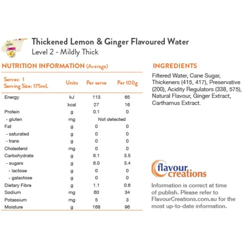 Lemon & Ginger Water Level Level 2 Mildly Thick 150 - Nectar Thick