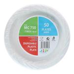 7 MC 750 White Plastic Plate 塑料盘白