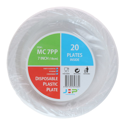 7 MC 7PP White Plastic Plate 塑料盘白