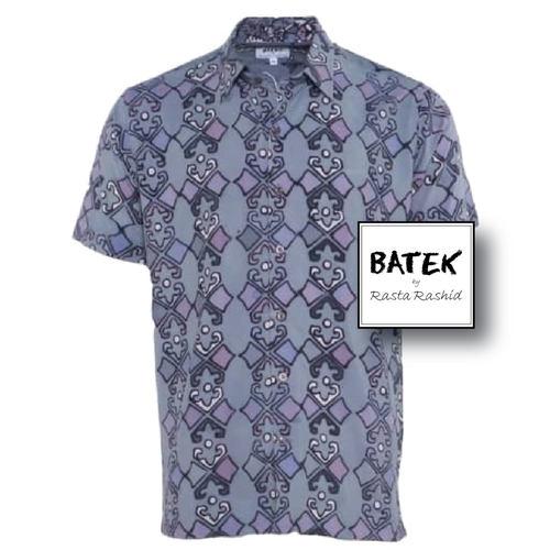 MEN'S SHORT SLEEVES DISCHARGE BATEK SHIRT - BM06 - GREY