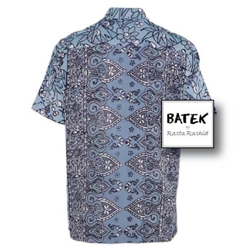 MEN'S SHORT SLEEVES DISCHARGE BATEK SHIRT - BM08 - BLUE