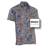 MEN'S SHORT SLEEVES DISCHARGE BATEK SHIRT - BM01 - GREEN YELLOW