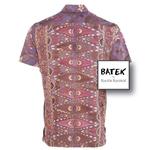 MEN'S SHORT SLEEVES DISCHARGE BATEK SHIRT - BM04 - PINK PURPLE