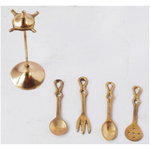 Brass Spoon Set Of 4 PCs Miniature Toy for Children Playing- 3 Inch Z369 C
