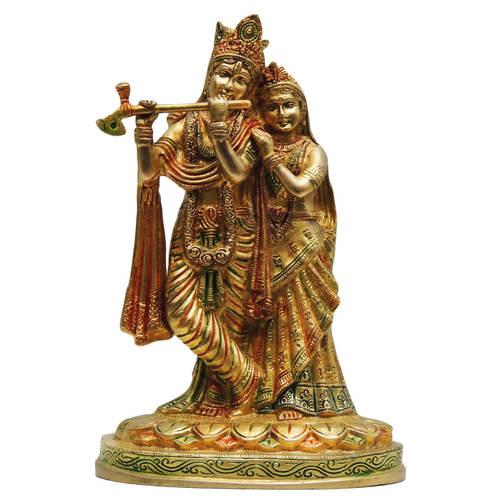 Brass Radha Krishna Statue Murti In Multicolour Lacquer Finish - 10.5 Inch  (BS399 D)
