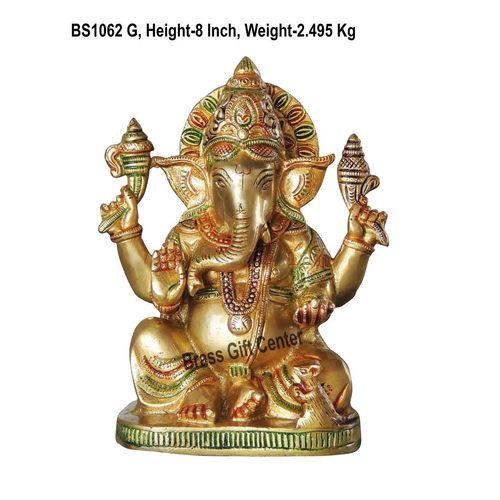Brass Ganesh Statue Murti Idol in MultiColour Lacuquer Finish - 8 inch (BS1062 G)