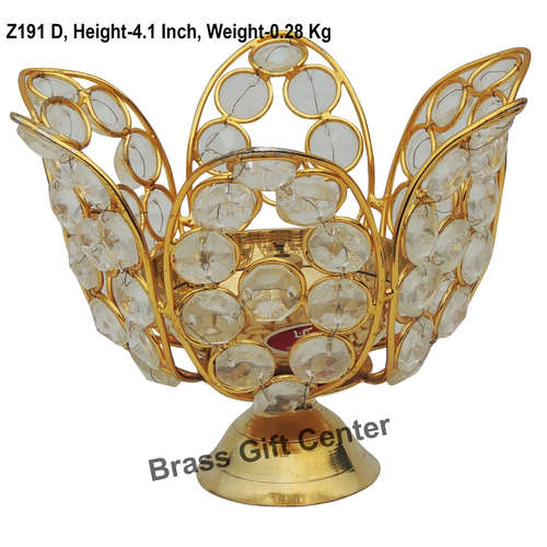 Brass Diya Deepak with Crystal Beads No. 4 - 5.9*5.9*4.1 inch  (Z191 D)
