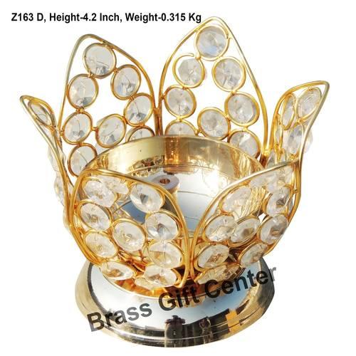 Brass Kamal Diya Deepak with Crystal Beads - 5.3*5.3*4.2 inch  (Z163 D)