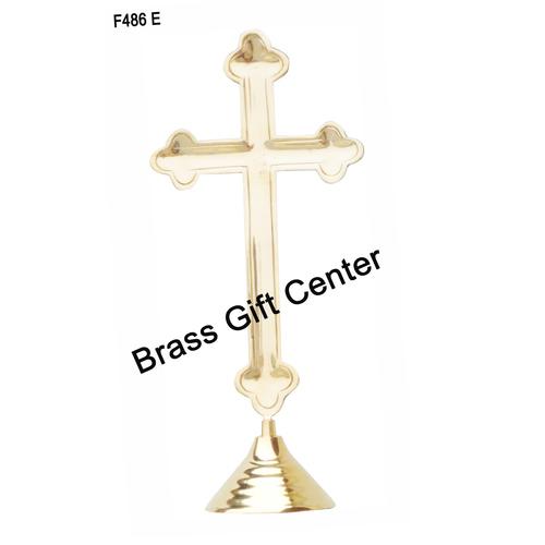 Brass Cross Christmas gift item 340 gm - 16.5 Inch  F486 E