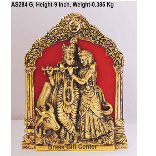 Radha  Krishna with Cow In Golden Antique Finish - 6.5*1*9 Inch