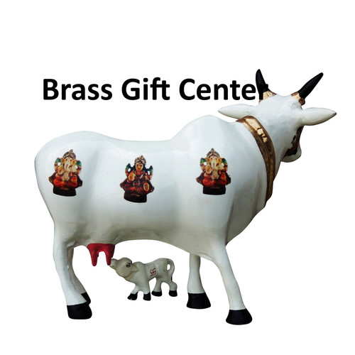 Gaye Bachdha Cow With Calf Statue - 11 inch AS252 D