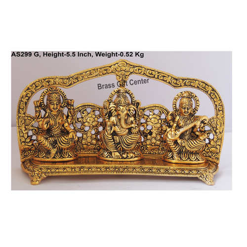 Laxmi Ganesh Saraswati LGS Statue Murti idol  in Gold  Antique Finish -9.525.5 inch AS299 G