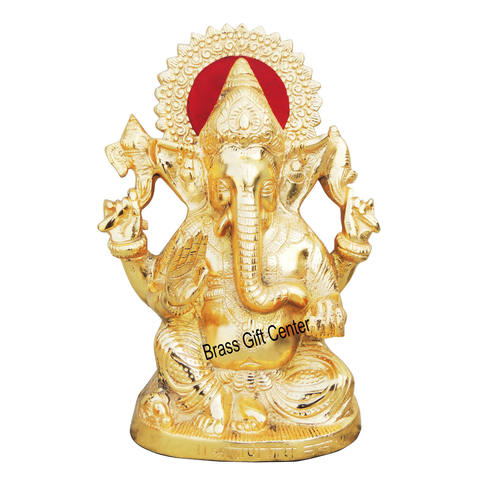 Aluminium Ganesh Statue In Gold Finish - 9.4 Inch (AS244 G)