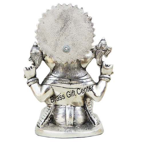 Aluminium Ganesh Statue In Silver Antique Finish - 9.4 Inch AS244 S