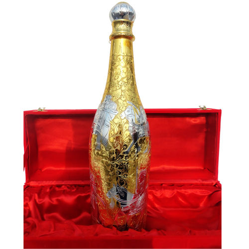 Shampion Bottle in Gold and Silver Finish 17 inch (B142)