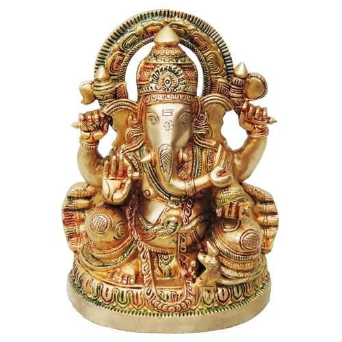 Brass Ganesh Statue In Multicolour Lacquer Finish - 6.44.38.8 Inch  BS477