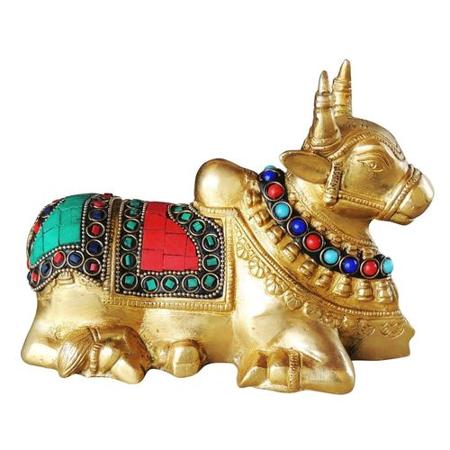 Pure Brass Nandi With Turquoise Coral Stone work - 5 Inch BS998 A