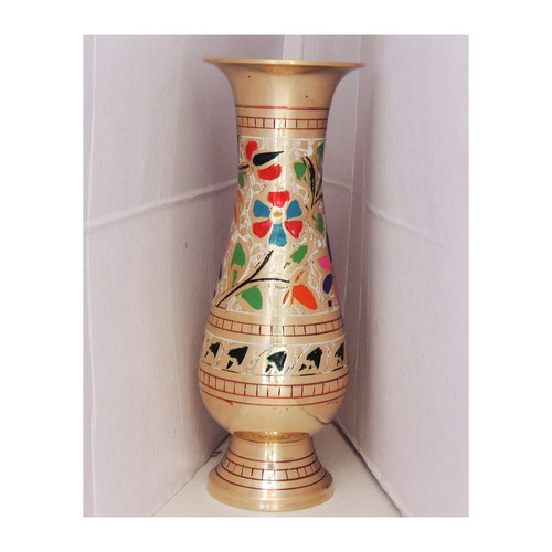 Brass Flower Vase pot with Handwork - 3.4*7.5*8.5 Inch  (F659 F)