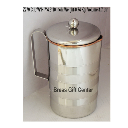 Copper And Steel Jug 1.7 Liter - 7x4.5x10 Inch  Z279 C
