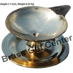 Brass Pandeep plate Diya Deepak - 2.7*2.3*1.1 inch  (Z146 D)