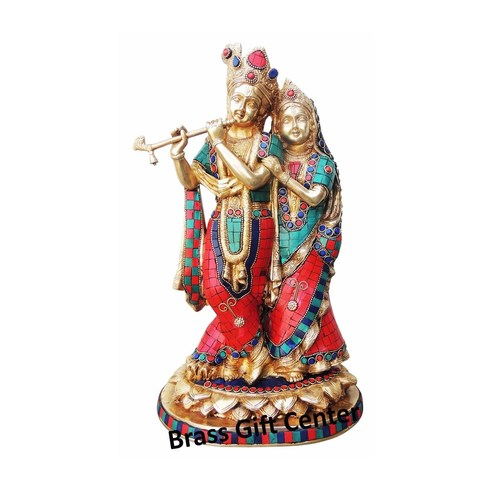 Brass Radha Krishna Statue Murti In Turquoise Coral stone Finish - 14.5 Inch  BS399 N