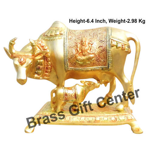 Brass Cow With Calf Gaye Bacdha - 8.3*5*6.4 inch  (BS1013 A)