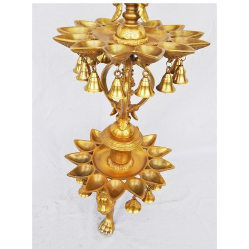 Beautiful peacock shape 3 floor brass metal hand made oil lamp - 48 Inch BS1208 A