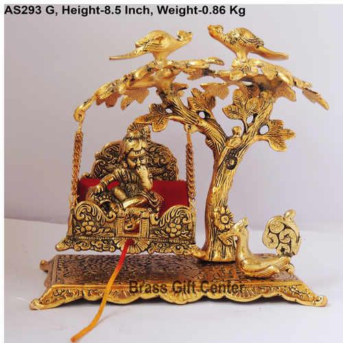 Tree Jhula with Ladu Gopal Statue Murti Idol In Gold Antique Finish - 8.5x5x8.5 Inch  AS293 G