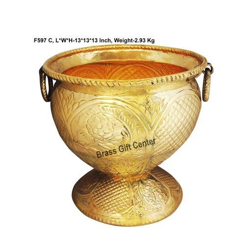 Brass planter Pot Gamala Chatai Diameter 13 Inch weight 3 Kg  F597 C