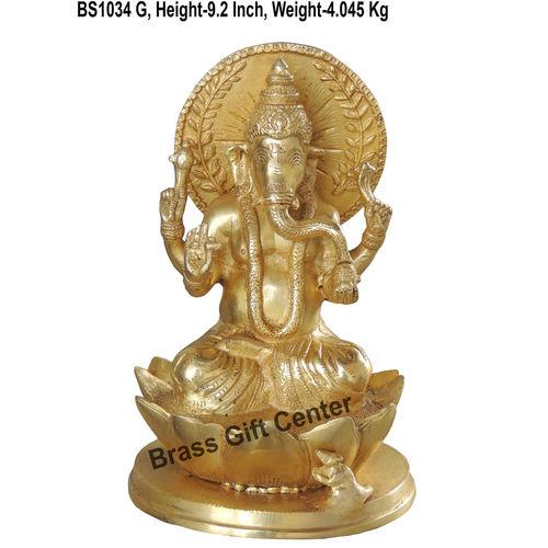 Brass Ganesh on kamal Idol Murti Statue 4.07 Kg - 9.2 Inch  BS1034 G