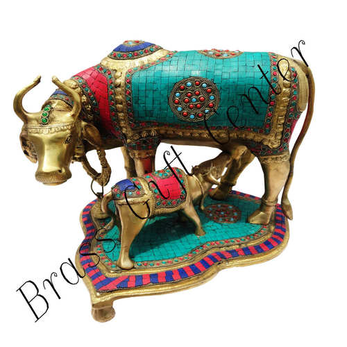 Brass Cow With Calf Gaye Bacdha with Turquoise Coral stone work- 14.5*13*13.5 Inch  (BS146)