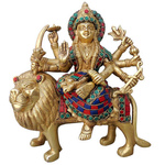 Brass Durga ji StatueMurtiIdol With Turquoise Coral Stone Work-9.5 inch BS964 A