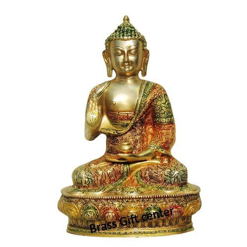 Brass Buddha Statue Murti Idol In Multicolour Lacquer Finish - 8.4512.5 Inch  BS660 B