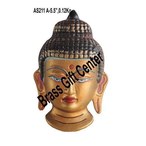 Aluminium Budha Face Wall Hanging - 5.5 inch AS211 A