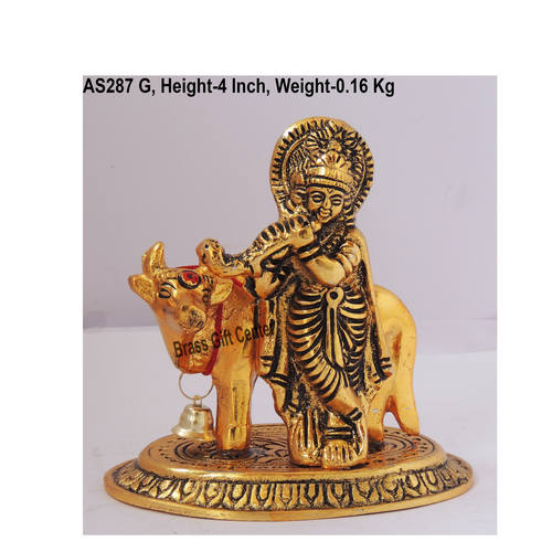 Krishna with Cow in golden Antique Finish - 4*2.5*4 Inch  (AS287 G)