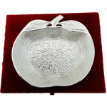 Brass Leaf Platter With Silver Finish - 5 Inch B039