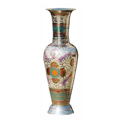 Brass Coloured Flower Vase with handwork - 4*4*11.5 Inch  (F286 B)