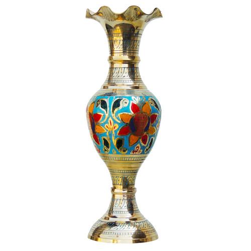 Brass Coloured Flower Vase with handwork - 4*4*12 Inch  (F383 B)