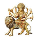 Brass Durga Ji StatueMurtiIdol with Multicolour Lacquer Finish-12.3 Inch BS937 D