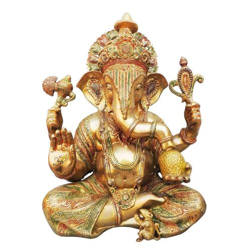Brass Ganesh Statue In Multicolour Lacquer Finish - 18 Inch  BS492 A