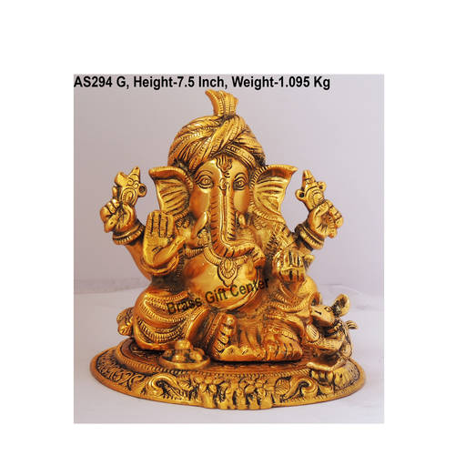 Pagdi Ganesh Statue Murti Idol In Gold Antique Finish - 7x6.5x7.5 Inch