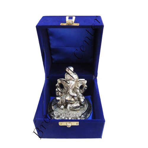 White Metal Pagadi Ganesh Statue - 3.5 Inch AS068 A